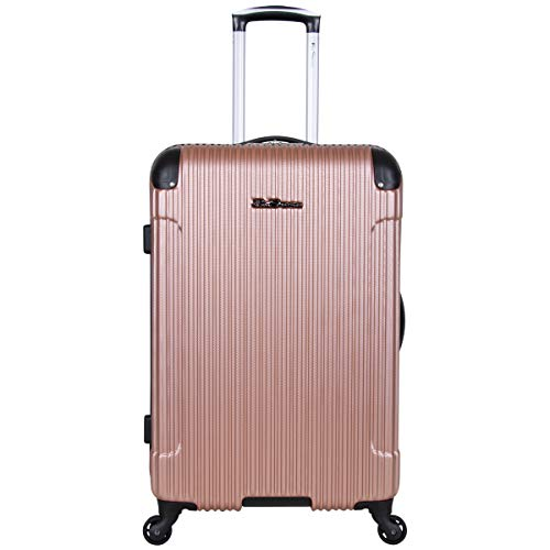 Ben Sherman Charlton Bay Collection Lightweight Hardside 4-Wheel Spinner Travel Luggage, Rose Gold, 24-Inch Checked