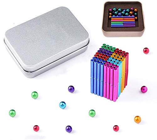 SENBAO Magnetic Building Blocks Set 36 PCS Magnetic Sticks and 27 PCS Magnetic Balls Powerful DIY Office Creative Desktop Gadget Craft Decoration Stress Reliever Coolest Gift(Colorful-Stick)