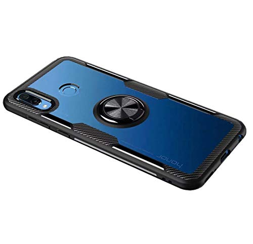 FANFO Huawei Honor Play Hülle, Rugged TPU/Transparent PC Transparent Hybrid Armor Fall & 360°Drehständer 3 in 1. schwarz