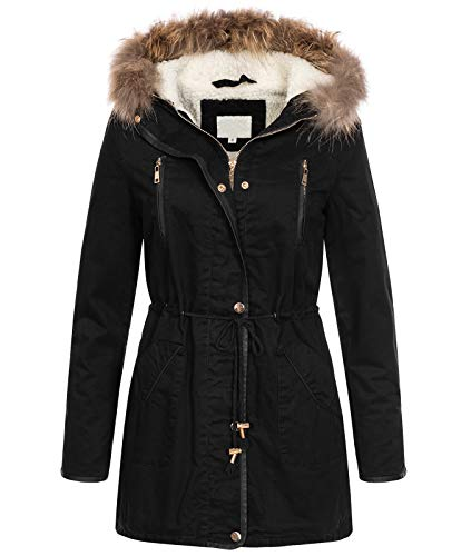 Rock Creek Selection Designer Damen Winterjacke Mantel Parka Teddyfell Echtpelz D-375 [CJ20225 Schwarz M]