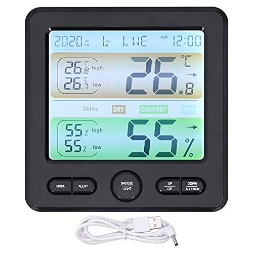 SHYEKYO Reloj Despertador, Reloj preciso con detección de Temperatura y Humedad para Otras escenas para Salas de Estar para Salas de Flores para dormitorios(Black, Pisa Leaning Tower Type)