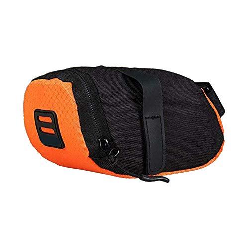 Bolsa de sillín de bicicleta portátil impermeable para guardar la parte trasera de la bicicleta, color naranja