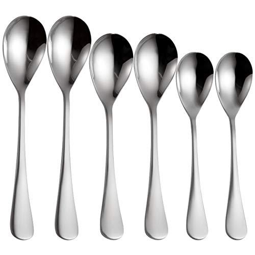 Fansport Cena cucharas de acero inoxidable 6pcs mango ergonómico Postre cucharas comiendo cucharas