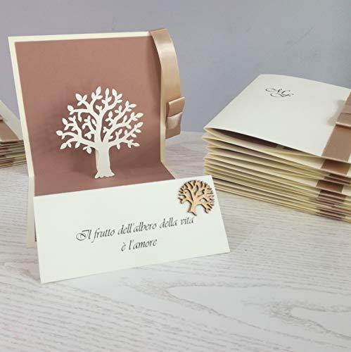 Partecipazione Matrimonio albero della vita con stampa BUSTA e applicazione compresa stile POP-UP 1 SET che comprende 10 PZ.