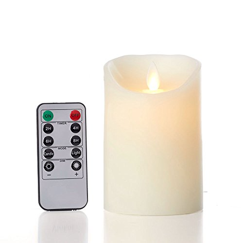 glowiu Flameless Flickering Candles 5 Inch Moving Flame, Real Wax Pillar Battery Candle with 10-Key Remote Multi-Function (Ivory, 3.25 x 5')