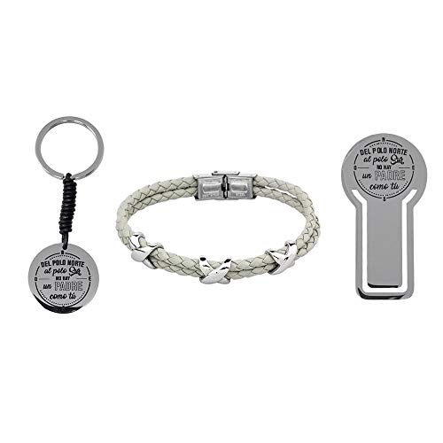Pack Bookmarks Father Stainless Steel Bracelet Rhodium Plated Key Chain No Father Like You Collection Soul - Customizable - Recording Included In Price