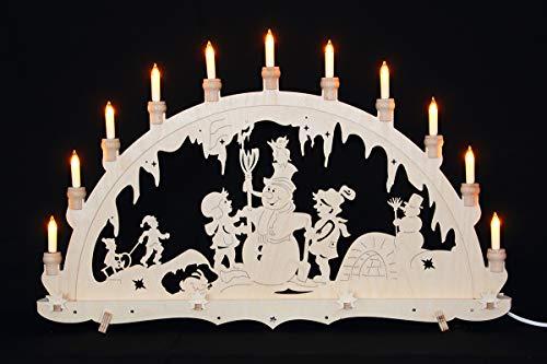 ERM Holzmanufaktur Schwibbogen Erzgebirge Lichterbogen Schneemann Weihnachten Advent Dekoration