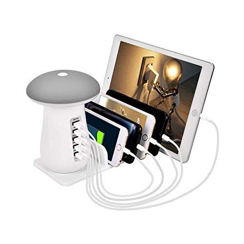Liamostee Schnellladestation 5-Port USB-Ladegert mit LED-Nachtlicht fr iPhone iPad Tablet Samsung