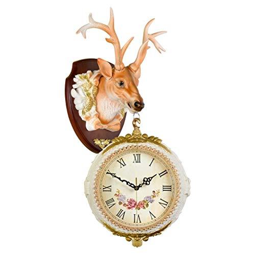 MJK Reloj de Pared de la Novedad, Reloj de Pared de Doble Cara Del Hogar Americano Reloj de Sala de Estar Decoración de Cabeza de Ciervo Reloj de Pared Mudo Colgante de Pared