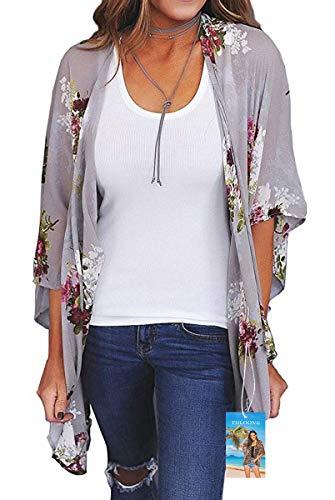 YULOONG - Kimono suelto para mujer, diseño floral, para verano, blusa informal, sexy, para la playa Gris Gris Claro S