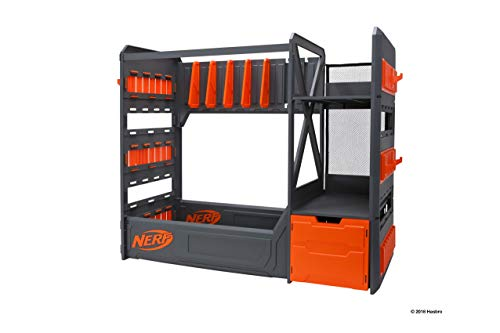 NERF Elite Blaster Rack - Storage for up to Six Blasters, Including Shelving and Drawers Accessories, Orange and Black