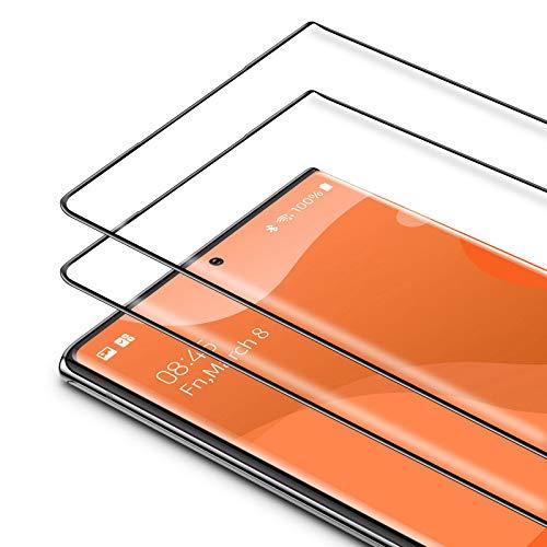 Bewahly Cristal Templado para Samsung Galaxy Note 20 Ultra [2 Piezas], 3D Curvado Completa Cobertura Protector Pantalla, 9H Dureza Alta Definicion Vidrio Templado para Samsung Note 20 Ultra (Negro)