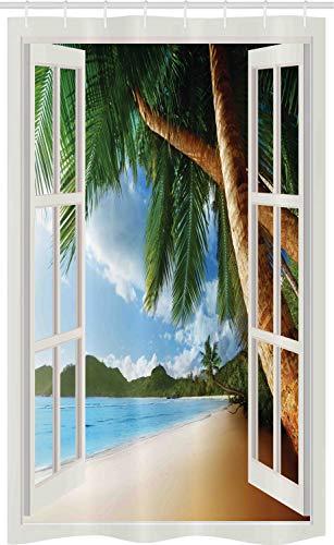 ABAKUHAUS Strand Schmaler Duschvorhang, Nautical Sand Landschaft, Badezimmer Deko Set aus Stoff mit Haken, 120 x 180 cm, Elfenbein Grün