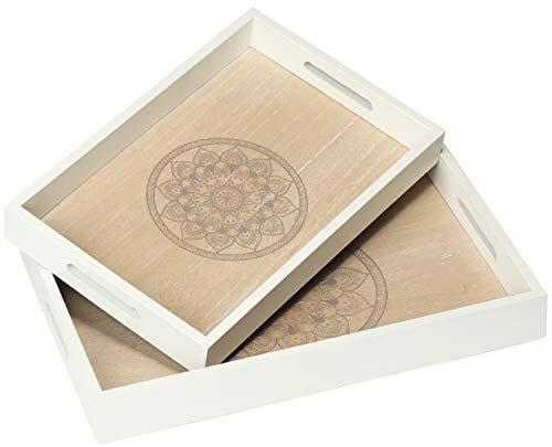 com-four® 2X Bandeja de Servir Hecha de Madera - Bandeja Vintage con Motivo de Mandala con Asas - Bandeja de Madera para el Desayuno en Gris (02 Piezas - Mandala)