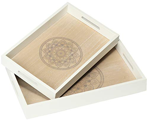 COM-FOUR® 2x dienblad van hout - vintage dienblad met een prachtig mandala motief in verschillende maten - shabby chic houten dienblad met handvatten (02 stuks -
