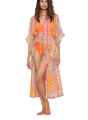 NAQSH Women Loose Cover Ups- One Size Perfect Paisley Bikni Cover Ups Beach Casual Dress Swimsuit Long Coverup