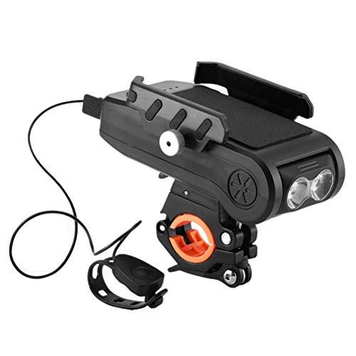 Jsdufs Luz para Bicicleta, Juego de Luces LED para Bicicleta 4 en 1, lámpara para Bicicleta con 3 Modos de luz, luz Frontal Impermeable Recargable por USB, Fuente de alimentación móvil de 4000 mA,