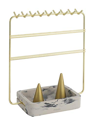 Nakko Modern Jewelry Organizer | Gold Metal 3 Tier Necklace and Earring Display Rack with Ring...