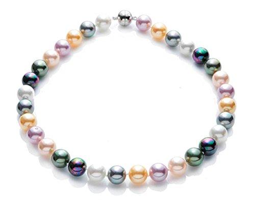 silvity Damen Perlencollier aus Muschelkernperle 1.1 x 1.1cm 47 cm Farbe. Bunt 892503-20