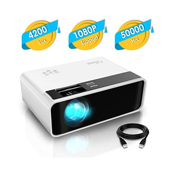 Mini Projector, CiBest Video Projector 4200 lux with 50,000 hrs Long Life LED Portable...