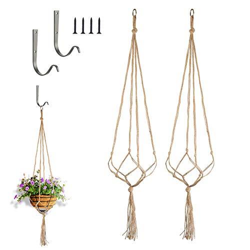 CHIFOOM 4tlg Blumenampel Set 2 Makramee Pflanzenhalter mit 2 Pflanzen Wandhalterung aus Metall Blumentöpfe zum Aufhängen Hängepflanzen Topf Halter Aufhänger für Innen Außen Decken Balkone Garten