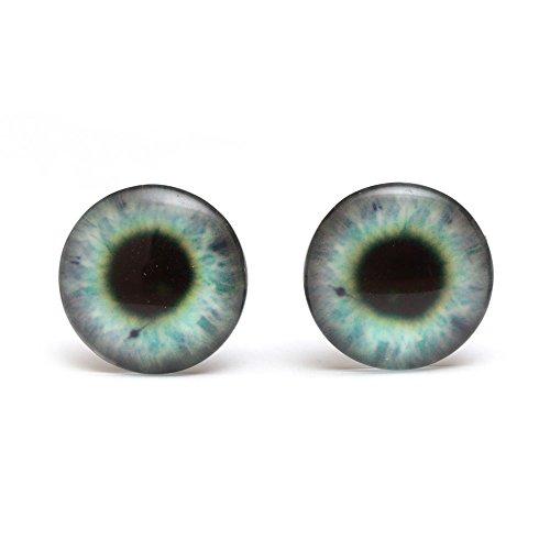 Ojo verde Idin - botón redondo de cristal con diseño de la impresión (18 x 18 mm) pendientes