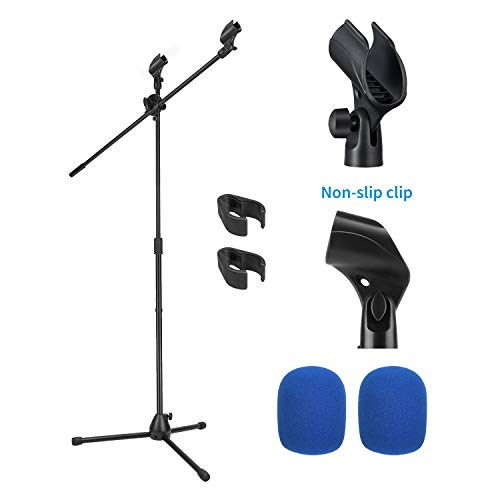 Moukey MMs-3 Mic Stand, Tripod Boom Microphone Stands with 2 Non-Slip Mic Clip Holders,2 Foam cover, Adjustable, Collapsible, For shure sm7b / sm58 (Black)