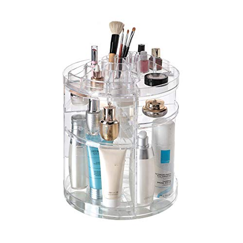WANGLXCO Beau Organisateur de Maquillage 360° Rotatif Présentoir Cosmétique Réglable Vanity de Grande Capacité pour Bijoux, Pinceaux de Maquillage, Rouges à Lèvres Hermétique, Large