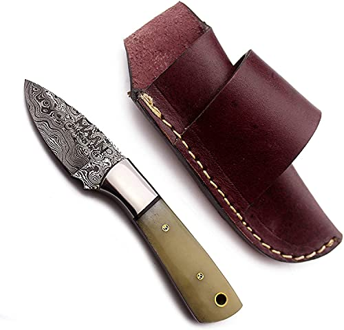 MAAN Handmade Damascus Fixed Blade Knife with Bone Handle - Survival, Tactical and Camping - Damascus Steel Knife - Damascus Hunting Knife with Right Hand Cross Draw Leather Sheath - MNK101