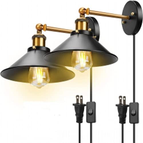 Aplique de pared enchufable, vintage lámpara de pared, luz de pared con interruptor de encendido y apagado base para restaurantes