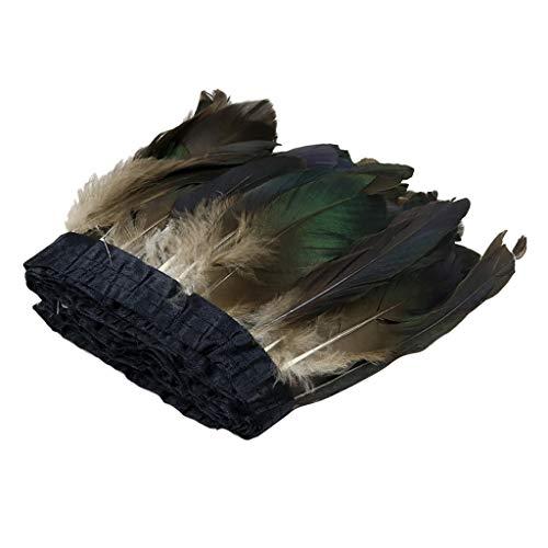 kowaku Cinta de Adornos de Encaje con Flecos de Plumas de Ganso Natural de 2 M para Sombrero de Sombrerería