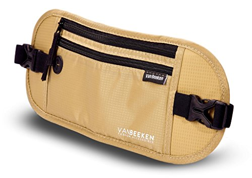 Flache Bauchtasche Hüfttasche mit RFID-Blockierung und 1 Hüftgurt für Damen und Herren - enganliegend und wasserdicht - Geldgürtel zum Sport, Reisen und Joggen | VAN BEEKEN Money Belt Beige