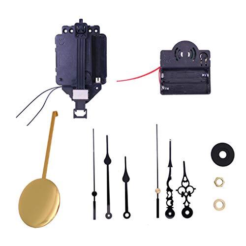 Baoblaze Kit de mecanismo de movimiento péndulo de reloj de cuarzo de eje largo para suministros de relojes de Casa de bricolaje, apto para relojes de 20-30cm (110 * 56 * 20mm)