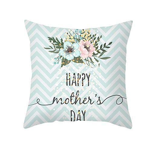 KnBoB Funda de Almohada Azul Rosa Happy Mother's Day con Flores 40 x 40 cm Poliéster Estilo 28