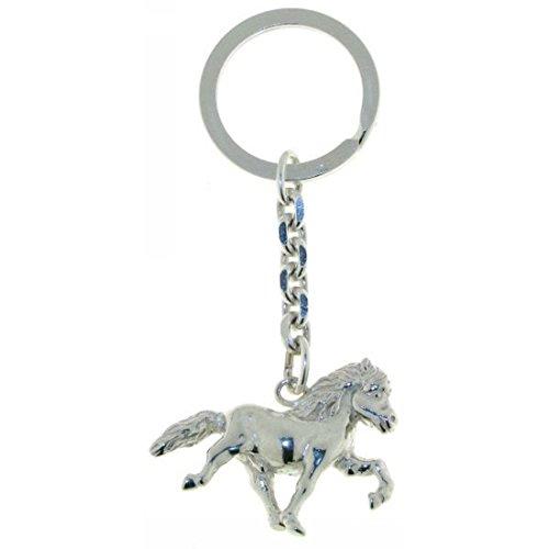 Derby Schlüsselanhänger Island-Pferd Isländer beim Tölt groß schwer massiv echt Silber 29009