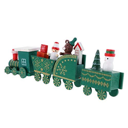TOYANDONA Navidad Madera Ensamblada Tren Decoración de Madera Escaparate Ornamento Escritorio Tren Ornamento Navidad Adorno
