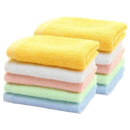 HOPAI Toallas Bambú, Toallas Pequeñas Multicolores Juegos de Toallas de Bebé Cara Facial Mano Baño, Paños de Limpieza Cocina
