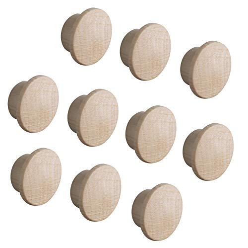Gedotec Abdeckkappen Loch-Abdeckungen Holz für Blind-Bohrung Ø 10 mm   Massivholz Ahorn naturbelassen   Gesamt Ø 15 mm   Kappen rund zum Eindrücken   20 Stück - Endkappen für Möbel & Schrauben-Löcher