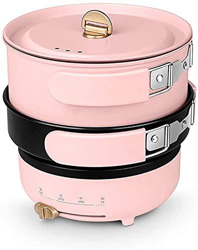 1-2 persone elettrica Viaggi foldble Multi Cooker Split Pot decocting Hot Pot lento Fornelli domestico portatile, Nero,rosa