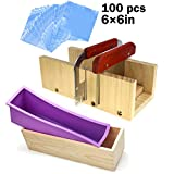Wooden Silicone Soap Loaf Cutter Mold Set - 1 Pcs Flexible Rectangular Soap Silicone Mold with Wood...