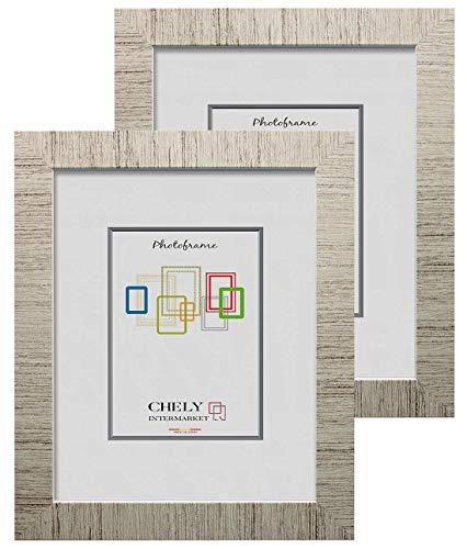 Chely Intermarket, Marco de Fotos 20x25cm (D34) MOD-231 (Pack de 2 unds) Estilo galería   Marco de Madera para Decoración de Casa   Fotografías de Boda   moldura con Relieve.(231-20x25*2-0,55)