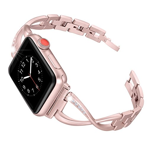 Secbolt Stainless Steel Band Compatible Apple Watch Band 38mm 40mm Women Iwatch Series 5/4/3/2/1 Accessories Metal Wristband X-Link Sport Strap, Rose Gold
