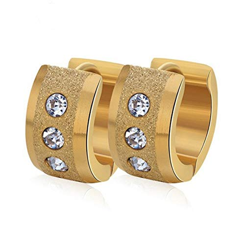 Fashion New Ear Jewelry Stainless Steel Frosted Zircon (Color : Golden)