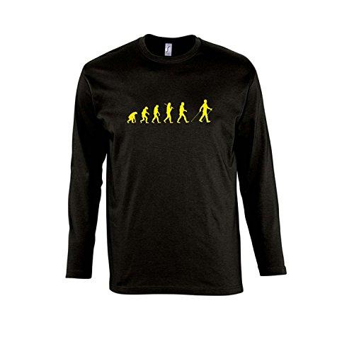 EVOLUTION - Nordic Walking Sport FUN KULT - Herren Langarm Longsleeve T-Shirt S-XXL , Deep black - gelb , XXL