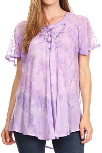 Sakkas 19218 - Marzia Women's Loose Fit Short Sleeve Casual Tie Dye Batik Blouse Top Tunic - 19204-Lavender - OS
