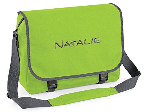 Umhängetasche, Messenger Bag mit Name, Lime/Grau, personalisiert Bestickt, Mitteilung Text Button r.o. jetzt anpassen.