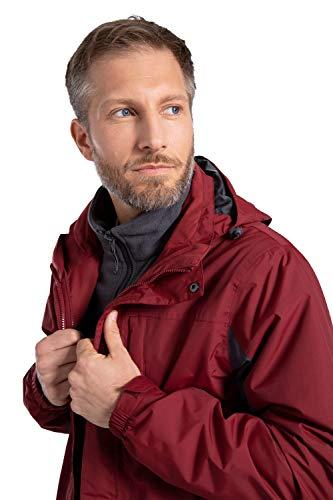 Mountain Warehouse Thunderstorm Mens 3 en 1 Chaqueta - Breathable Toda la Capa de la estación, Capa Impermeable de la Lluvia, Costuras grabadas, Invierno Rojo Oscuro M