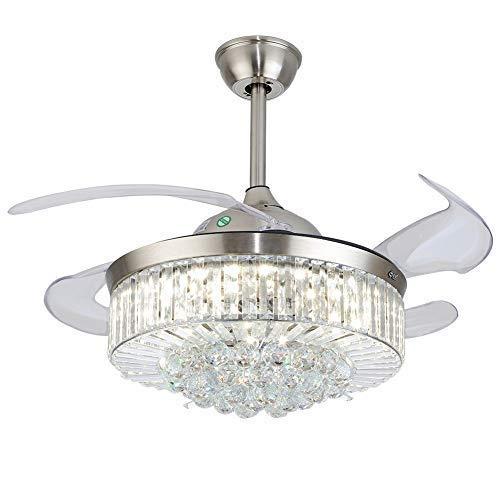 Ventilador de techo regulable de Fandelier de cristal de 36 pulgadas, con luces y mando a distancia, moderno, invisible, intercambiable