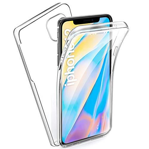 AROYI Funda iPhone 12, Ultra Slim Doble Cara Carcasa Protector Transparente TPU Silicona + PC Dura Resistente Anti-Arañazos Protectora Case Cover para iPhone 12