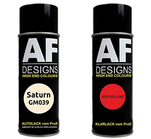 Autolack Spraydose Set für Saturn GM039 Moon Beam White Basislack Klarlack Sprühdose 400ml